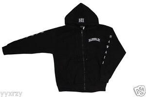 Hawaii Logo Embroidered Sweater Fleece Hoodie Zipper Sweatshirt Heavy Black