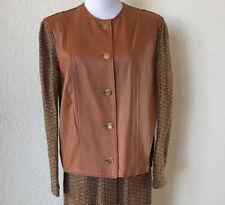 Vintage 2 PC  Suit Tweed Wool Leather Skirt Jacket Brown Cognac 1970s Career S/M