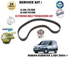 FOR NISSAN KUBISTAR 2003 >1.5DT DCI OIL FUEL 2 FILTERS SET + TIMING CAM BELT KIT