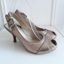 Clarks Trini Asha Gold Metallic Leather Heels Peep Toe Sandals Sz UK 5 / 38 NEW