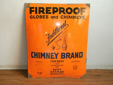 Old vintage GLOBES and CHIMNEYS advertising enamel sign of 30's made in Germany.