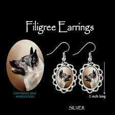 NORWEGIAN ELKHOUND - SILVER FILIGREE EARRINGS Jewelry