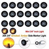 "20X 12V Black Smoked Amber Mini 3/4"" LED Side Truck Clerance Marker Bullet Lamp"