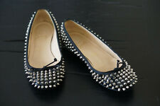 CHRISTIAN LOUBOUTIN Big Kiss Black Patent Leather Silver Spike Flats Shoes 38
