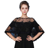 2018 Women Black Embroidered Wraps Eyelash Lace Evening Shawl Sheer Cape Jacket