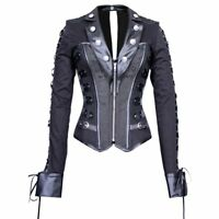 Plus Size Gothic Steampunk Military Motorcycle Steel Boned Corset Jacket Top
