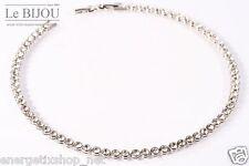 LE BIJOU Damen Halskette Collier,Tennis-Collier Swarovski-Kristallen Silber