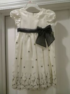 NWT 6 Bonnie Jean Black White Organza Overlay Party Formal Pageant Holiday Dress