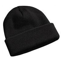 Plain Beanie Knit Ski Cap Skull Hat Warm Solid Color Winter Cuff Black Blank Lot