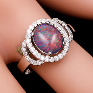 Black Cherry Red Fire Opal 8x10 Oval Cabochon CZ Silver Jewelry Ring Size 7 8 9