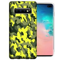 For Samsung Galaxy S10+ Plus Yellow Green Camo Design Gel Phone Case Cover