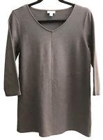 Pure Jill Sz S Brown Cotton Blend Knit Top V-Neck ¾ Sleeves Diagonal Seam Detail