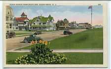 Ocean Avenue South End Cars Ocean Grove New Jersey 1920s postcard