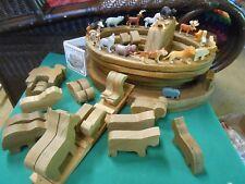 Outstanding NOAH'S ARK Wood 46 Pieces-Boat-Animals etc.