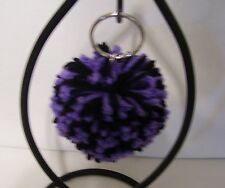 """Key Chain with 2.5"""" Yarn Pom-Pom Attached-- Color-Black and Lilac"""