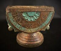 Rare antique embouchure en bois d'entonnoir de semoir à charrue Inde Népal XIXe