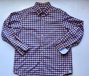 CREMIEUX Classics Mens Large Orange & Blue Checks Long Sleeve Shirt Buttons 2E