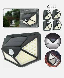 NEW 4x100 LED Solar Power PIR Motion Sensor Wall Lights Outdoor Garden Lamp UK