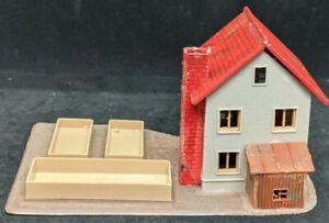 Faller HO: 2 Story House Brick Chimney Vintage German Building + shed & basins
