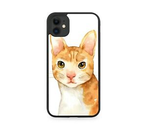 Ginger Cat Watercolour Oil Painting Print Rubber Phone Case Kitten Cats H965