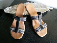 Rieker Damen Schuhe Sandalen, Gr. 39 schwarz/silber