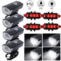 Super Bright USB LED Bike Bicycle Light Rechargeable Headlight & Taillight Set