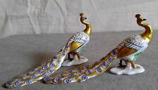 Antique SITZENDORF Germany Porcelain Pair Peacock White Gold Miniature Bird
