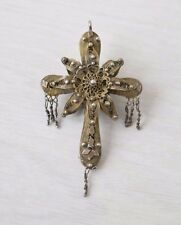 Antique Imperial Russian Crafts Handmade Silver & Mercury Мercury Gilding Cross