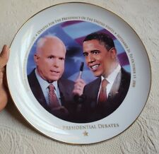THE PRESIDENTIAL DEBATES 2008 Sterlington Collection Plate • Obama & McCain used