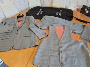 Marc Darcy Mens 3 Piece Suit 48R Jacket 48R Waistcoat 42R Trousers