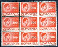 RUMANIA / ROMANIA / ROUMANIE 9 sellos bloque  año 1945 yvert nr.808 nuevo