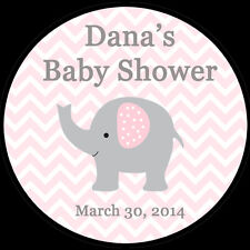 """30 Personalized Round Stickers - Pink Elephant Baby Shower  - 1.5"""" Inches"""