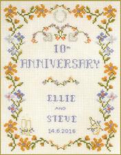 Toute anniversaire de mariage sampler dans orange-Kit complet point de croix sur 14 Aida