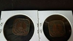 1920 Straits Settlements One Cent King George V Colonial Coins