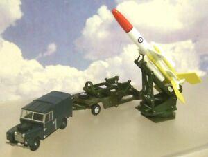OXFORD DIECAST 1/76 RAF LAND ROVER TRAILER & BRISTOL BLOODHOUND MISSILE 76SET65