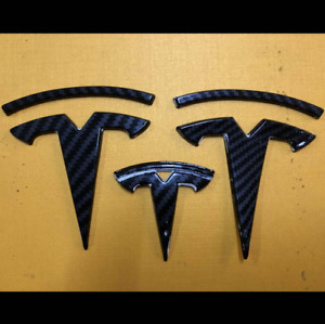 3pcs Carbon Fiber Logo Hood Trunk Steering Wheel Badge Emblems Fit Tesla Model 3