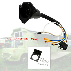 Trailer Plug 4-Way to 7 Way RV Blade Wiring Adapter Hitch spring-loaded cover