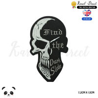 Find the Dark Side Skull Biker Embroidered Iron On Sew On PatchBadge