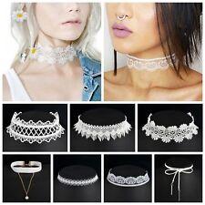 Punk Vintage Jewelry 10Pcs White Flower Lace Velvet Chain Collar Choker Necklace
