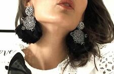 ZARA EXTRA LARGE BLACK SEQUIN AND TASSEL BEADED EARRINGS NEW JEWELLERY