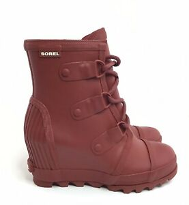 Sorel Joan Rain Wedge Moto Boots Size 7