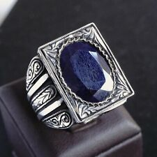 925 Sterling Silver Mens Ring Blue natural Neelam Sapphire Unique Handcrafted 11