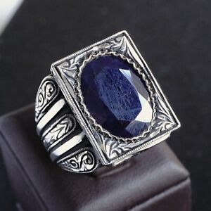 Sterling Silver Mens Ring Blue Sapphire natural Gemstone Unique Handmade Jewelry