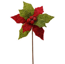 Poinsettia Red and Green Flower Stem 12 inch rzchtl f3606934 NEW