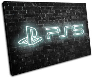 Playstation 5 Gamer Neon Urban Gaming SINGLE CANVAS WALL ART Picture Print
