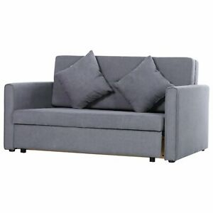 2-Person Modern Sofa Bed Hidden Storage Cushions Compact Space Seat Saving Grey