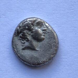 Ancient Greek silver Coin - Chalcidian League 432-348 BC Diobol #REF G14