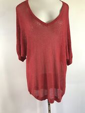 #MQ TORRID RED OPEN STITCH KNIT SWEATER TOP STRETCHY SHIMMER PLUS SIZE 3X 4X EC