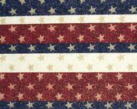 FAT QUARTER STARS & STRIPES HEART OF AMERICA FABRIC TRADITION METALLIC COTTON FQ