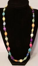 Colorful Art Bead Necklace Toggle Clasp